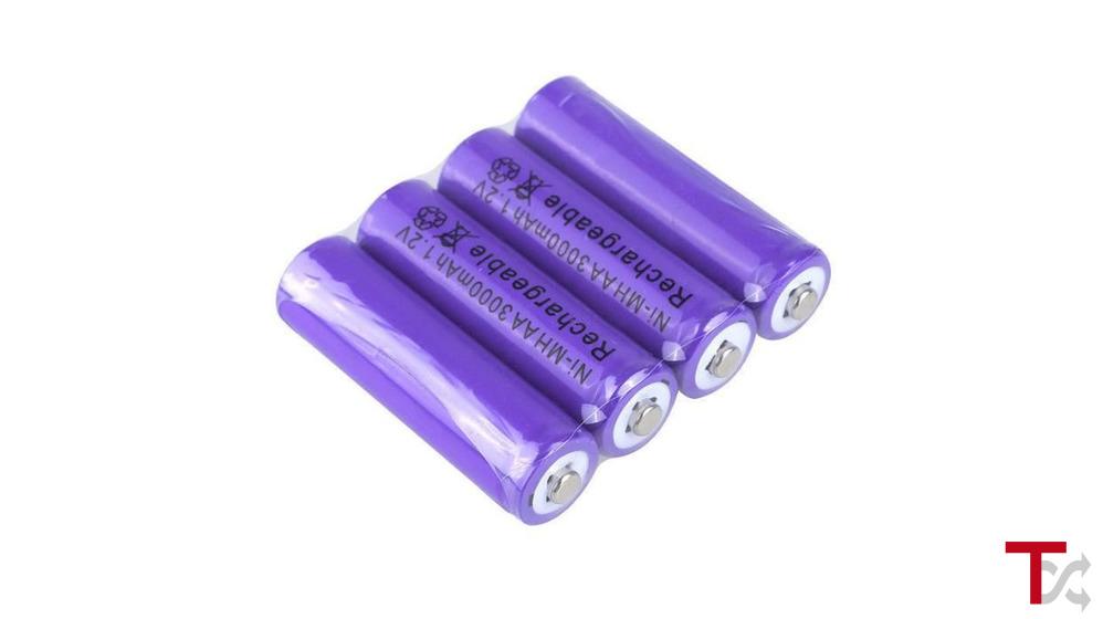 4x Pilhas AA Recarregáveis 3000mAh Ni-MH
