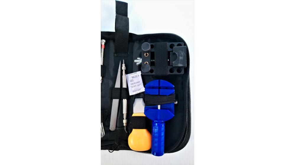Kit de ferramentas reparação relógios c/ bolsa