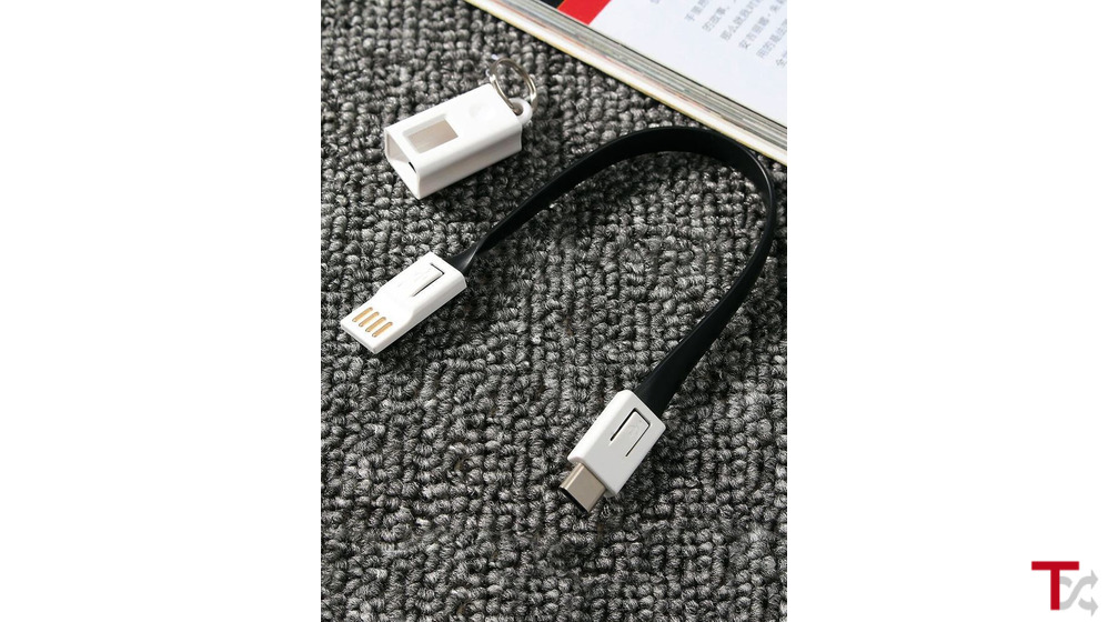 Porta chaves com Cabo USB-C (Tipo C) para carregar telemóvel e sincronização de dados