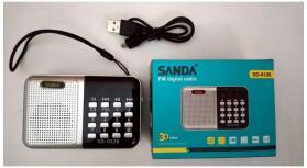 Mini rádio FM coluna portátil Mp3, usb, MicroSd