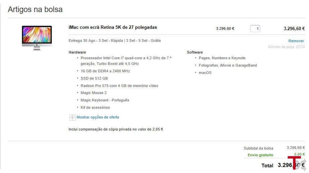 iMAC Profissional 27' | 5K | I7 QC 4.0 | 16GB | 512SSD | 4GB Grafica|