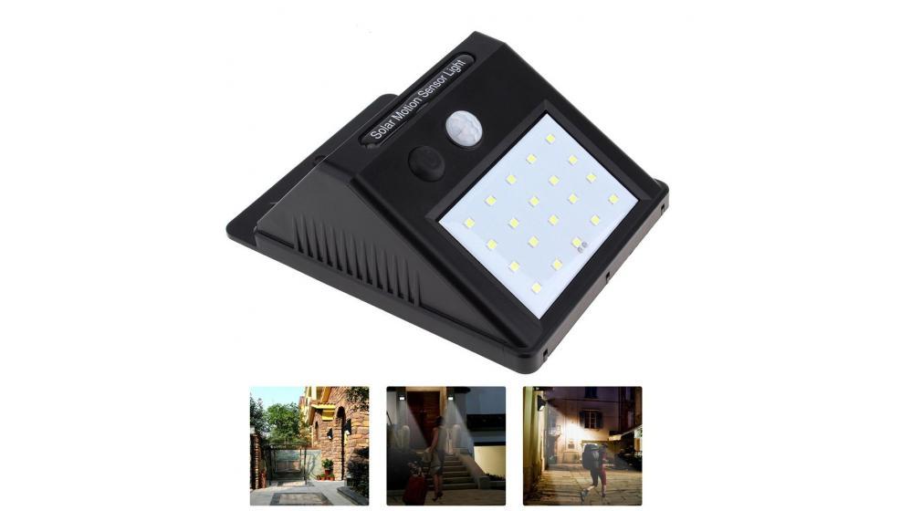 Candeeiro solar sensor movimento 20 LED p/ exterior